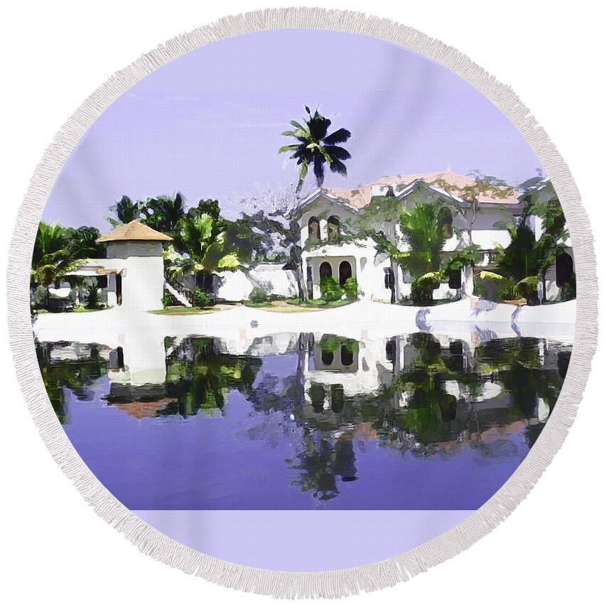 Alleppey Round Beach Towel featuring the digital art View Of The Cottages And Lagoon Water In Alleppey by Ashish Agarwal