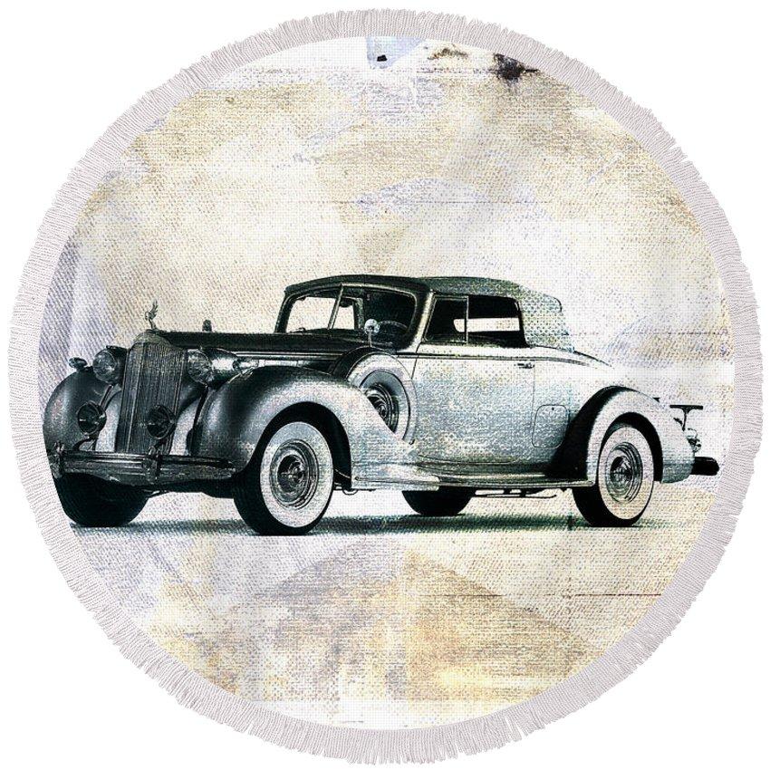 Car Round Beach Towel featuring the digital art Vintage Car by David Ridley