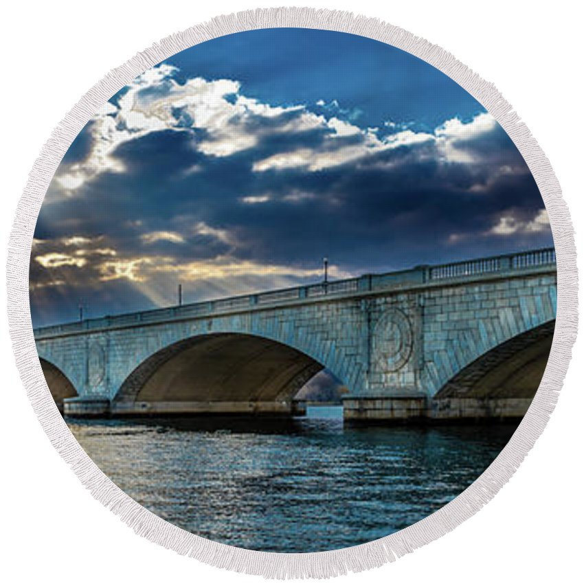 Photography Round Beach Towel featuring the photograph Washington D.c. - Memorial Bridge 1 by Panoramic Images