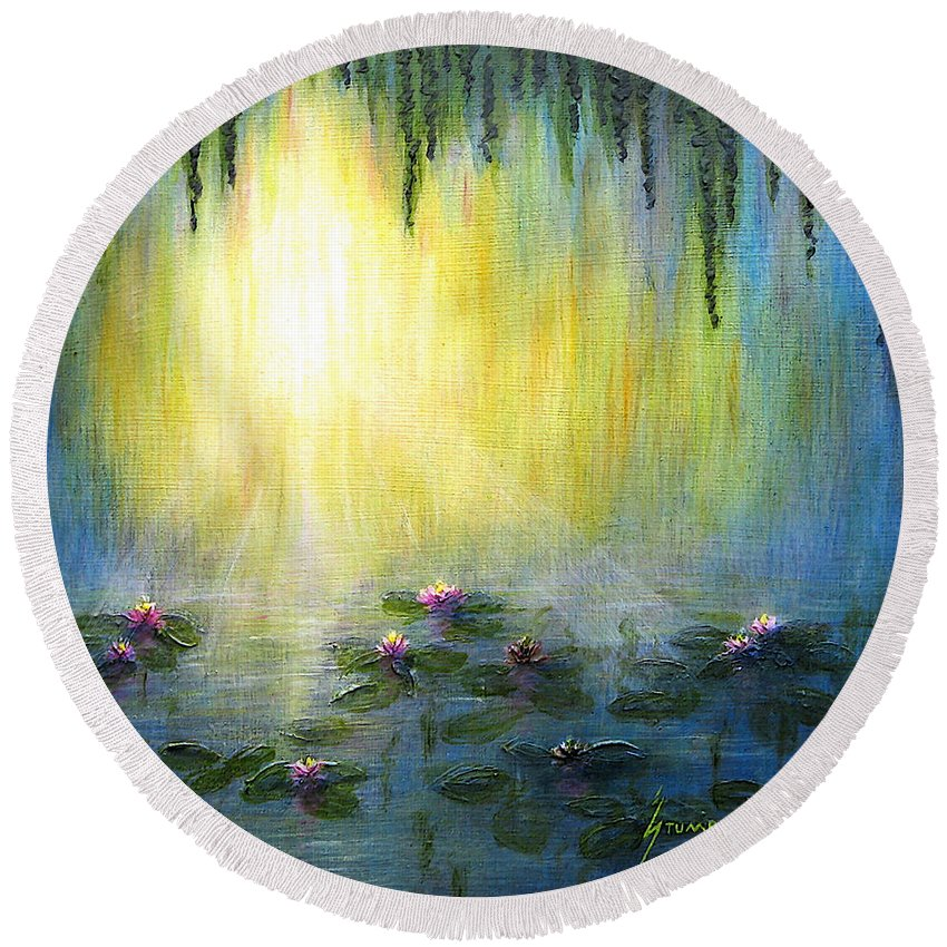 Water Lilies Round Beach Towel featuring the painting Water Lilies At Sunrise by Jerome Stumphauzer