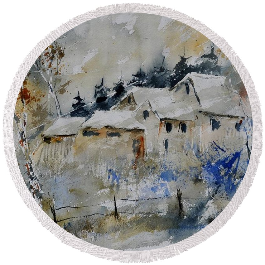 Landscape Round Beach Towel featuring the painting Watercolor 419082 by Pol Ledent