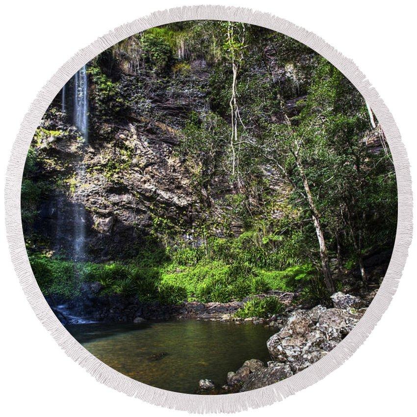 Cascade Round Beach Towel featuring the photograph Waterfall by Darren Burton