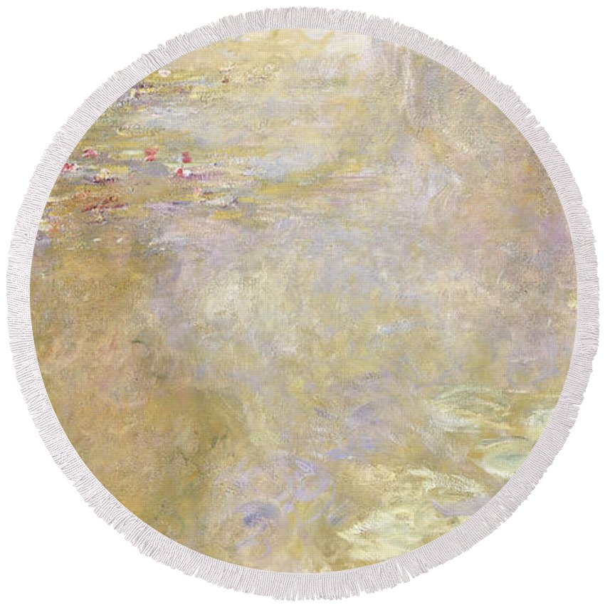 Monet Round Beach Towel featuring the painting Waterlily Pond by Claude Monet