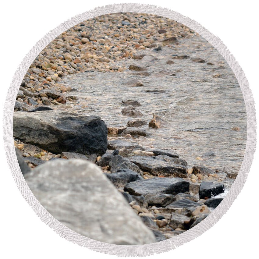 Water Round Beach Towel featuring the photograph Waters Edge by Linda Kerkau