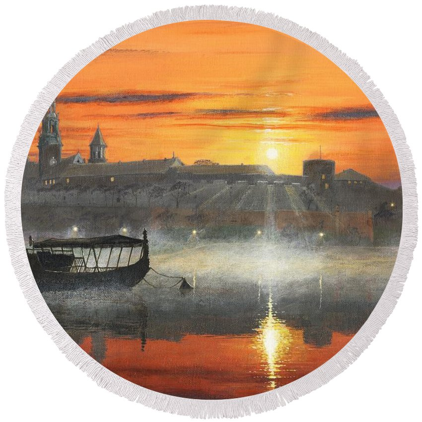Sunrise Round Beach Towel featuring the painting Wawel Sunrise Krakow by MGL Meiklejohn Graphics Licensing
