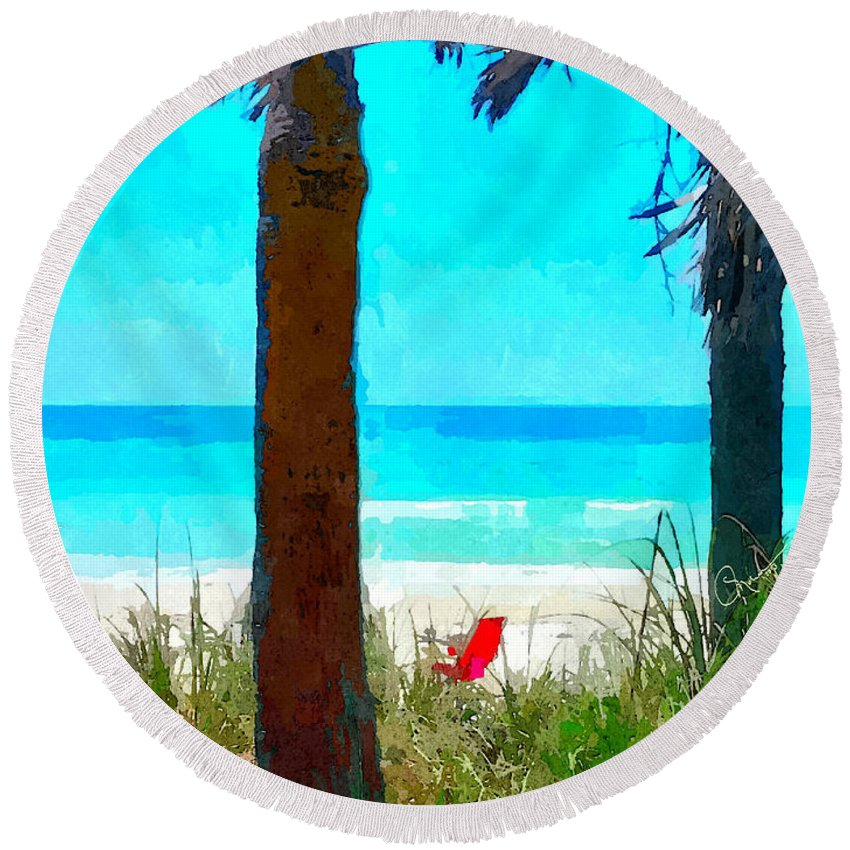 we Saved A Place For You Round Beach Towel featuring the photograph We Saved A Place For You by Susan Molnar