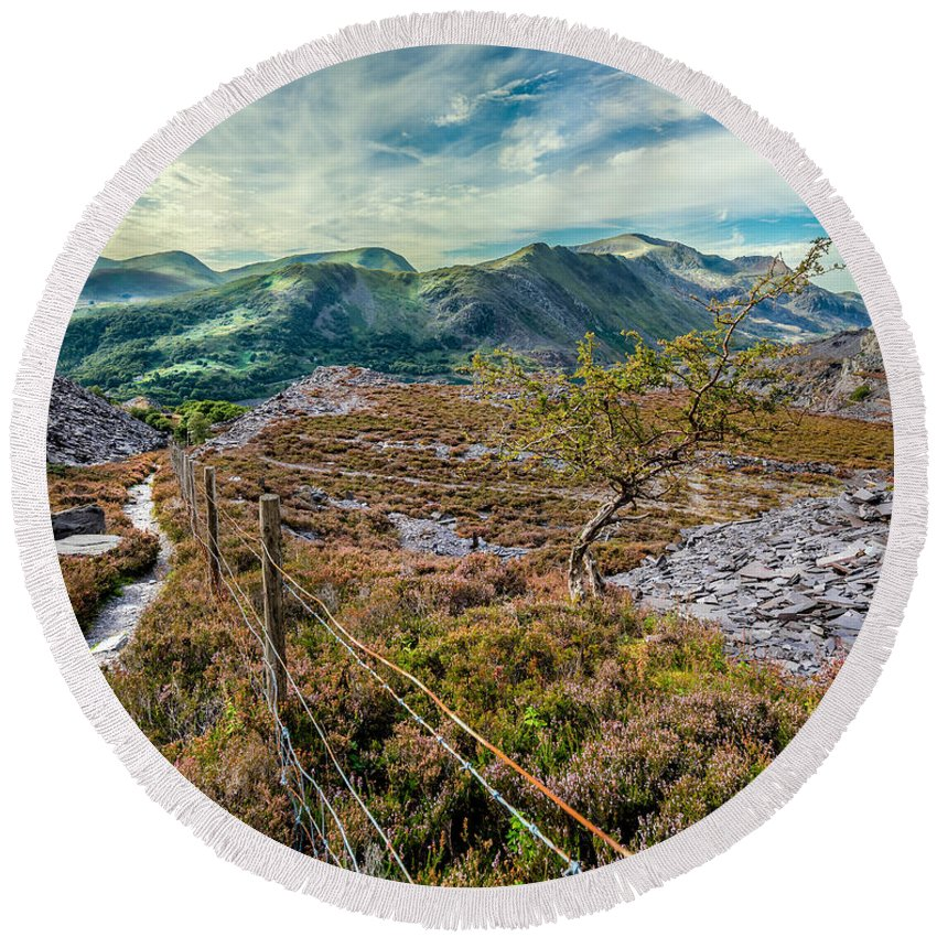 British Round Beach Towel featuring the photograph Welsh Mountains by Adrian Evans