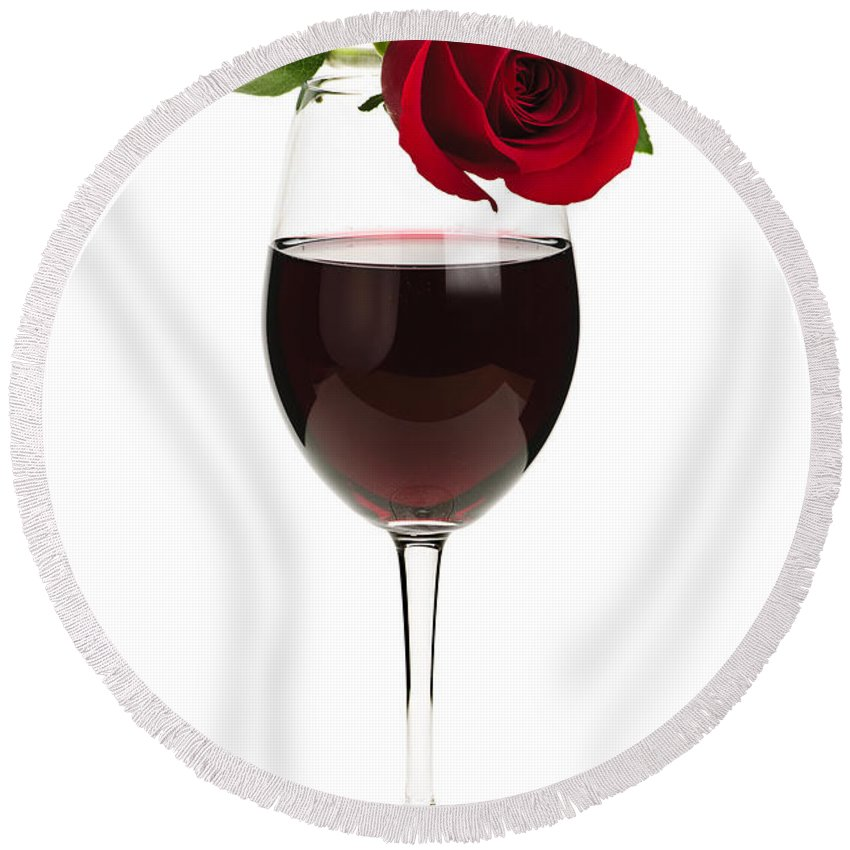 Wine Round Beach Towel featuring the photograph Wine With Red Rose by Elena Elisseeva