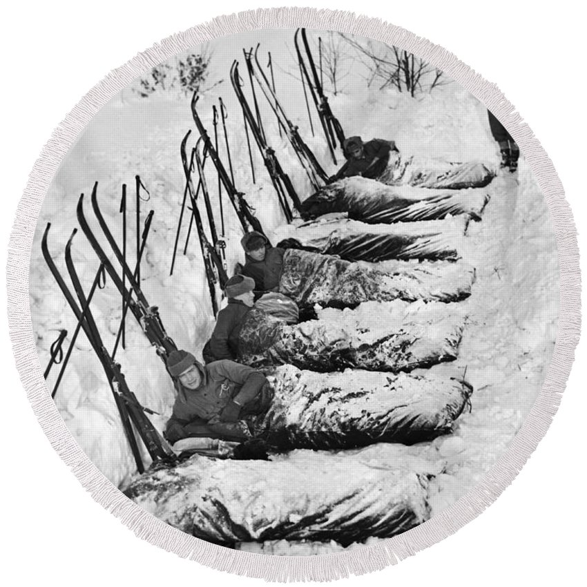 1930's Round Beach Towel featuring the photograph Winter Camping by Underwood Archives
