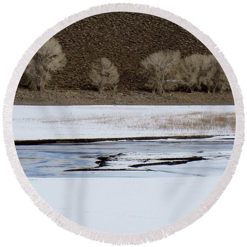 Winter Round Beach Towel featuring the photograph Winterscape No. 2 by Annie Adkins