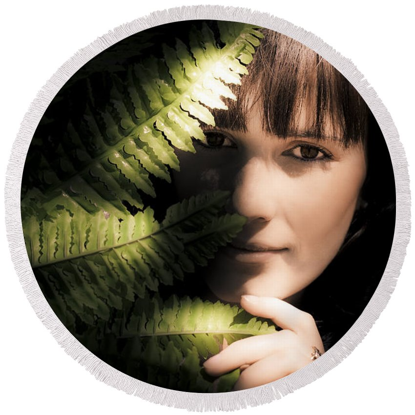 Adult Round Beach Towel featuring the photograph Woman Hiding Behind Fern Leaf by Jorgo Photography - Wall Art Gallery