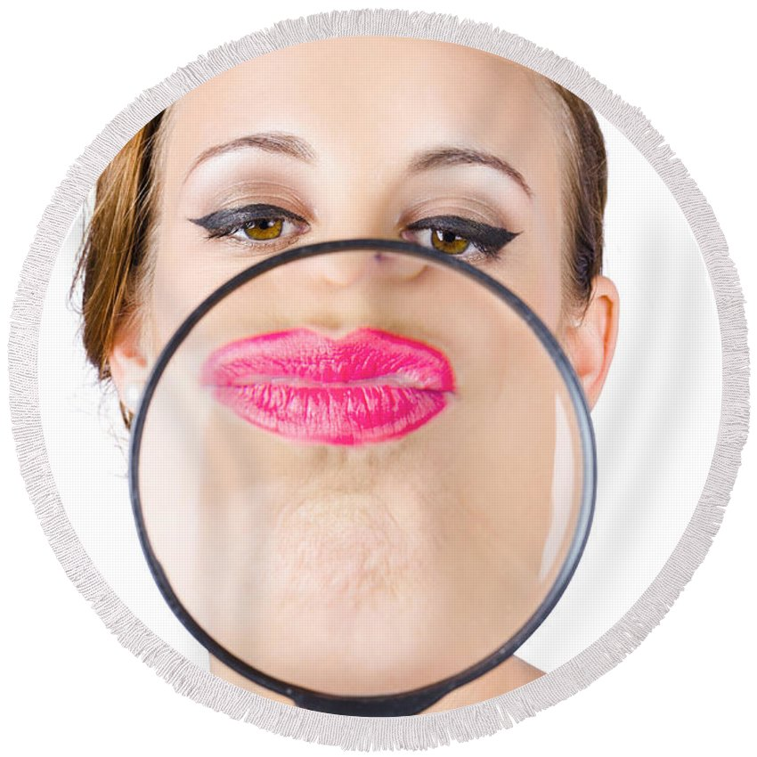 Cosmetics Round Beach Towel featuring the photograph Woman Kissing Magnifying Glass by Jorgo Photography - Wall Art Gallery