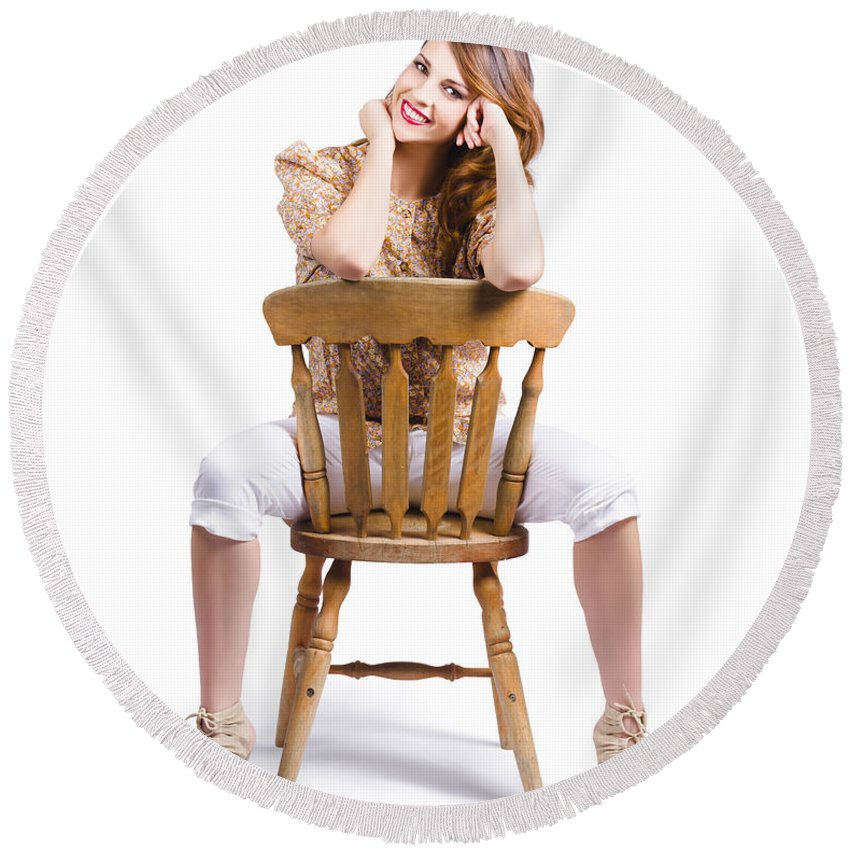 Abstract Round Beach Towel featuring the photograph Woman Posing On Chair by Jorgo Photography - Wall Art Gallery