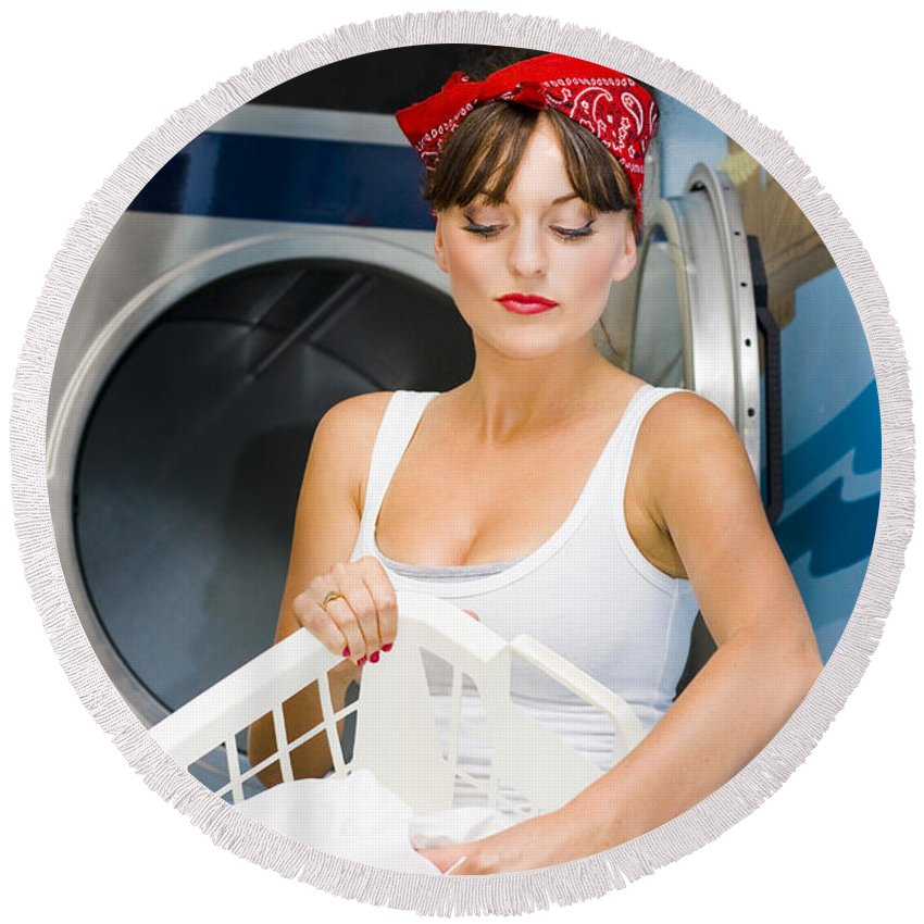 Washing Round Beach Towel featuring the photograph Woman Washing Clothes by Jorgo Photography - Wall Art Gallery