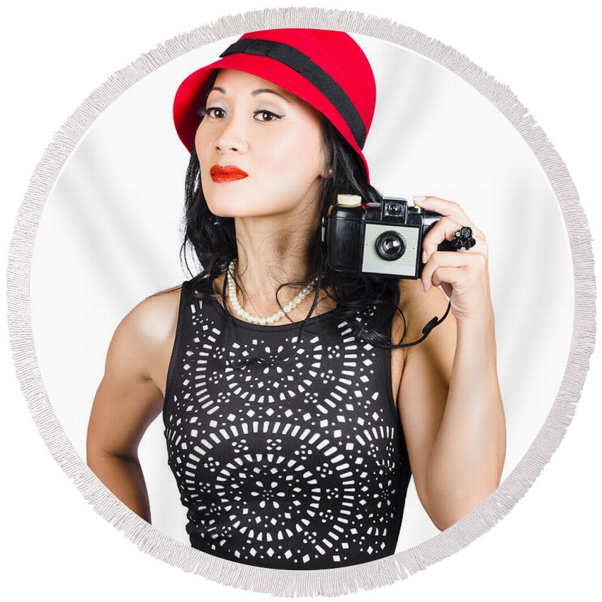 Clothing Round Beach Towel featuring the photograph Woman With An Old Camera by Jorgo Photography - Wall Art Gallery