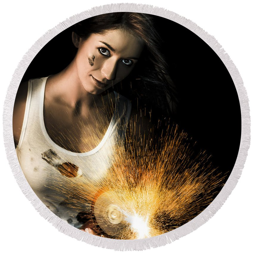 Abrasive Round Beach Towel featuring the photograph Woman With Angle Grinder Spraying Sparks by Jorgo Photography - Wall Art Gallery