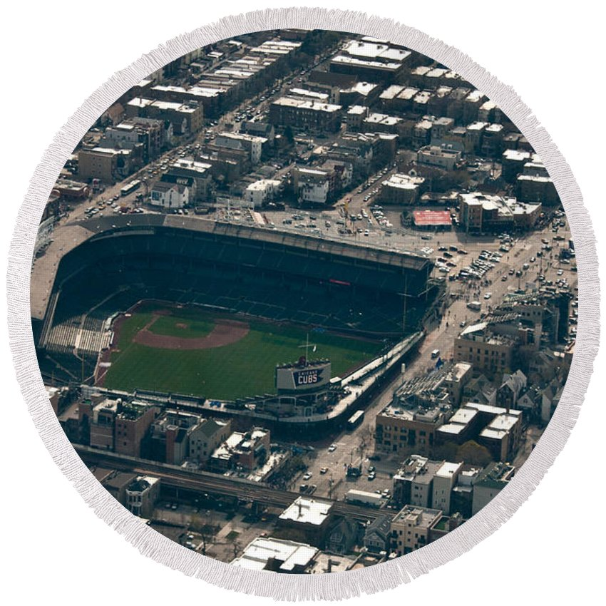 Chicago Round Beach Towel featuring the photograph Wrigley Field From The Air by Anthony Doudt