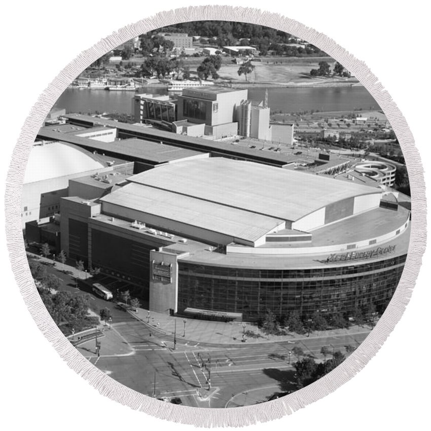 Black And White Round Beach Towel featuring the photograph Xcel Energy Center In St. Paul Minnesota by Bill Cobb