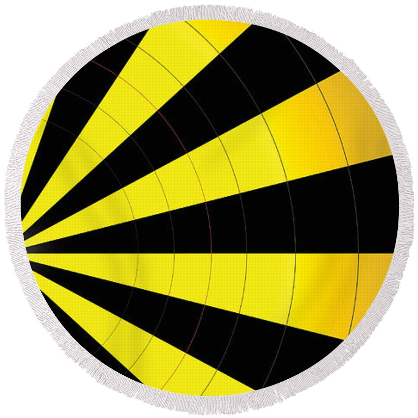 Abstract Round Beach Towel featuring the digital art Yellow Jacket by James Kramer