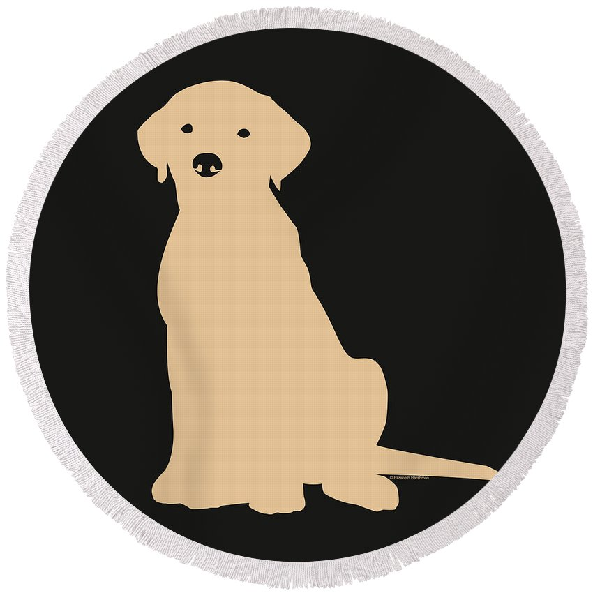 Lab Round Beach Towel featuring the digital art Yellow Labrador by Elizabeth Harshman