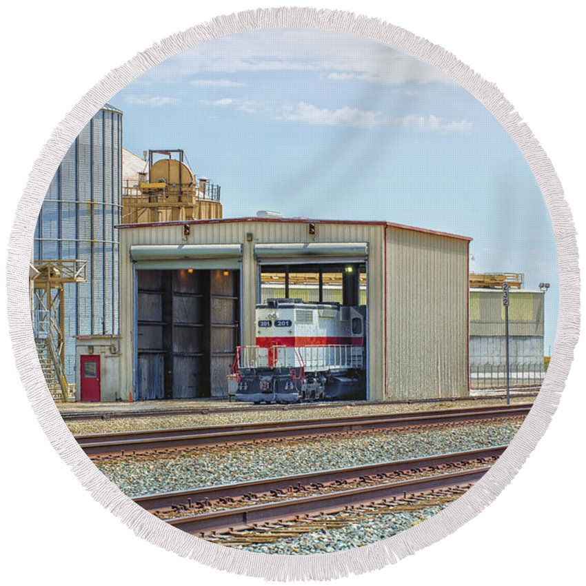 California Round Beach Towel featuring the photograph Foster Farms Locomotives by Jim Thompson