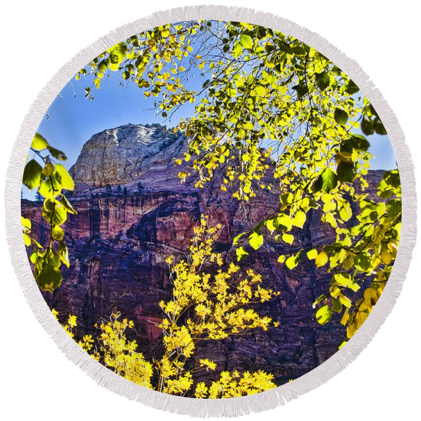 Zion National Park Utah Round Beach Towel featuring the photograph Zion National Park by Jon Berghoff