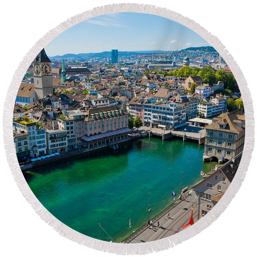 Switzerland Round Beach Towel featuring the photograph Zurich From The Grossmunster by Anthony Doudt