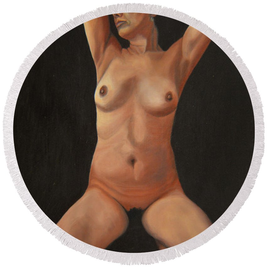 Sexual Round Beach Towel featuring the painting 10 Am by Thu Nguyen
