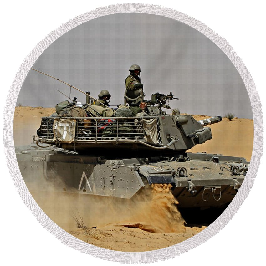 Battletank Round Beach Towel featuring the photograph An Israel Defense Force Magach 7 Main by Ofer Zidon