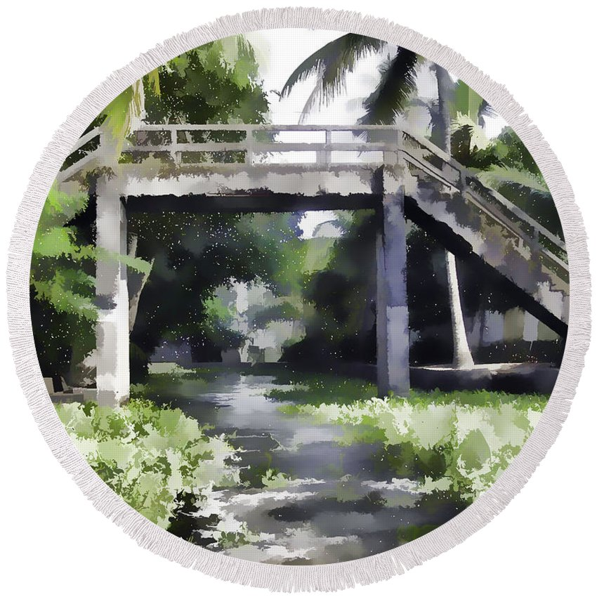 Alleppey Round Beach Towel featuring the digital art An Old Stone Bridge Over A Canal by Ashish Agarwal