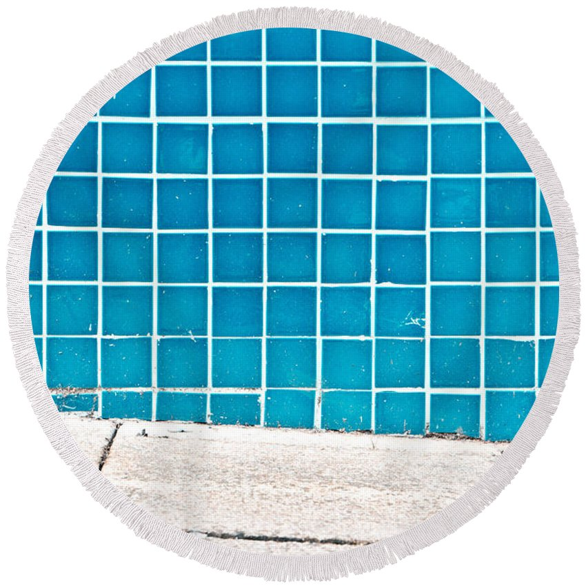 Abstract Round Beach Towel featuring the photograph Blue Tiles by Tom Gowanlock