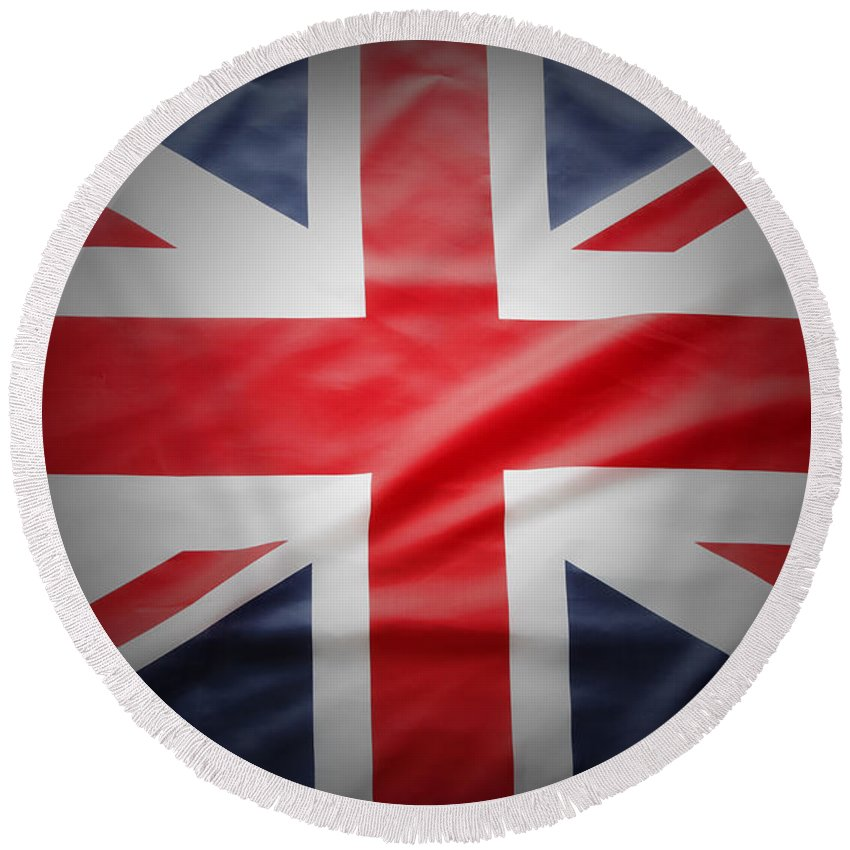 Flag Round Beach Towel featuring the photograph British Flag 17 by Les Cunliffe