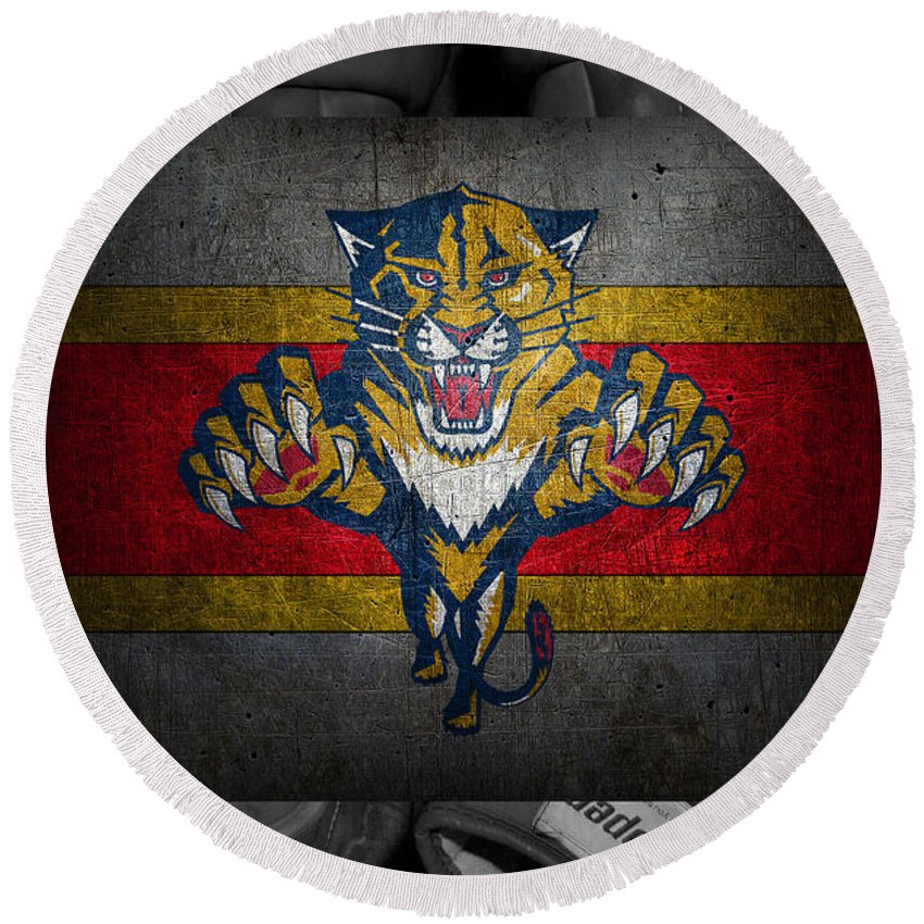 Panthers Round Beach Towel featuring the photograph Florida Panthers by Joe Hamilton
