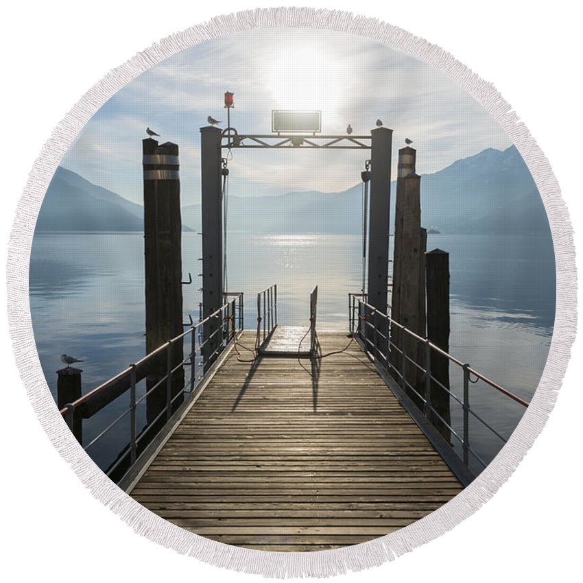 Harbor Round Beach Towel featuring the photograph Pier by Mats Silvan