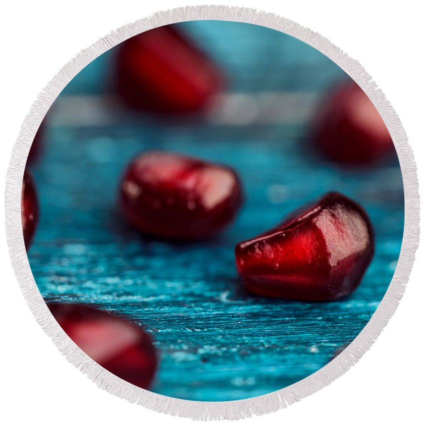 Pomegranate Round Beach Towel featuring the photograph Pomegranate by Nailia Schwarz