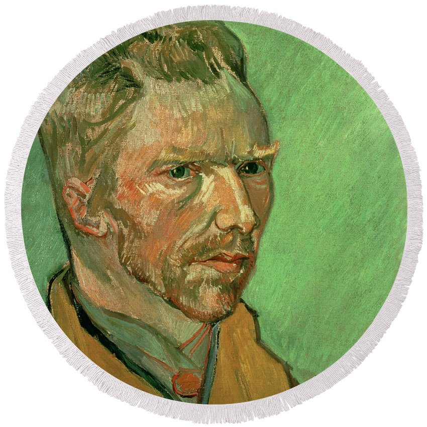 Vincent Round Beach Towel featuring the painting Self Portrait by Vincent Van Gogh