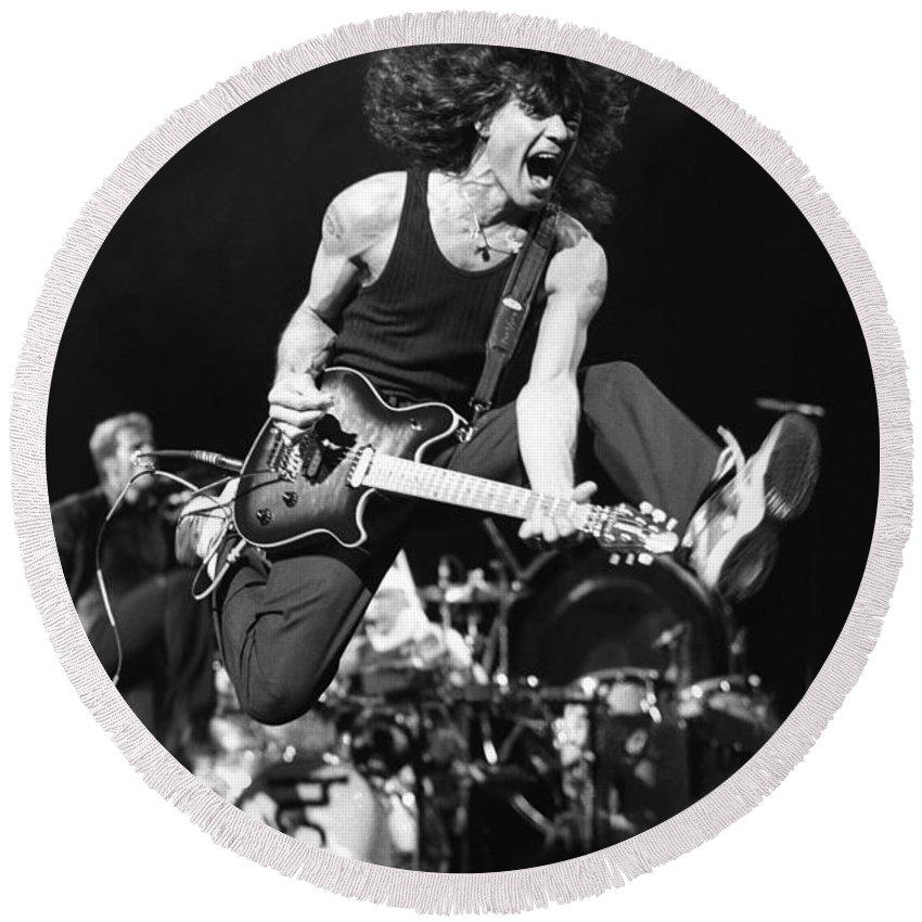 Eddie Van Halen Round Beach Towel featuring the photograph Van Halen - Eddie Van Halen by Concert Photos