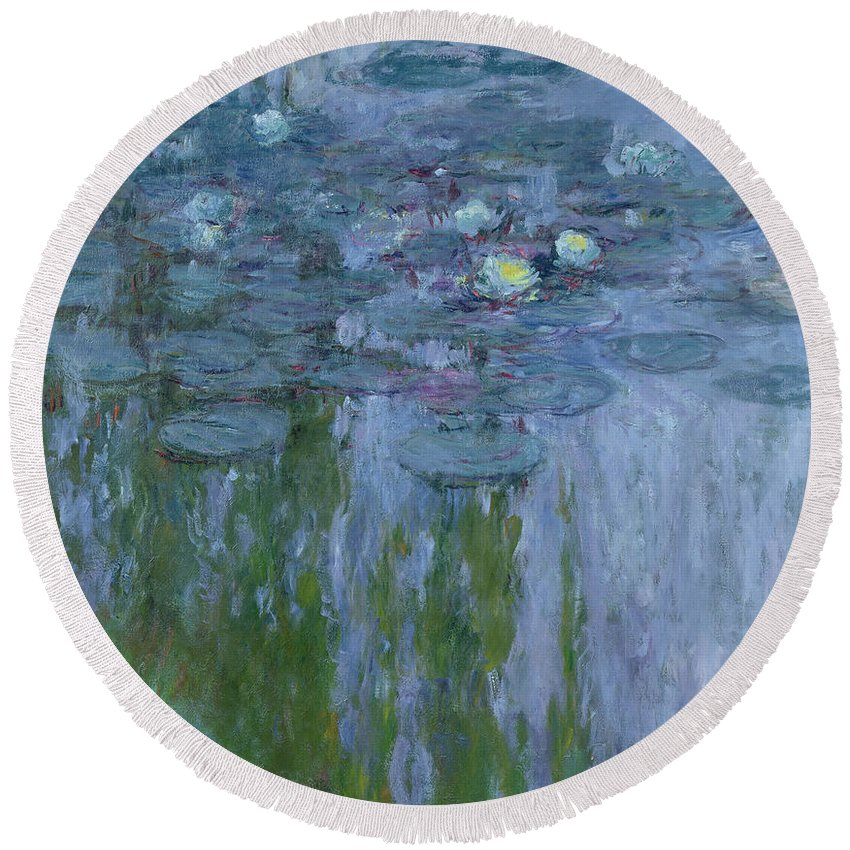 Nympheas Round Beach Towel featuring the painting Waterlilies 10 by Claude Monet
