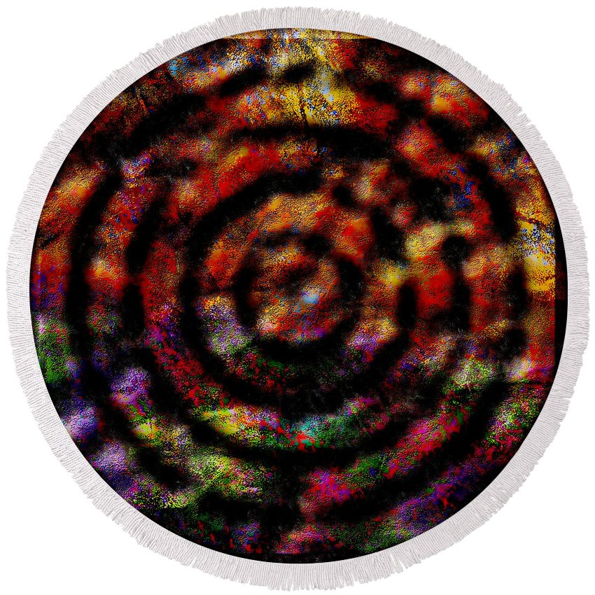 Abstract Round Beach Towel featuring the digital art 1066 Abstract Thought by Chowdary V Arikatla