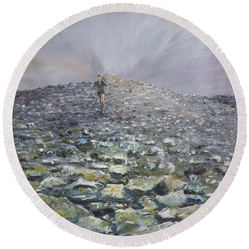Runner Round Beach Towel featuring the painting 1073768 by Vincent Alexander Booth