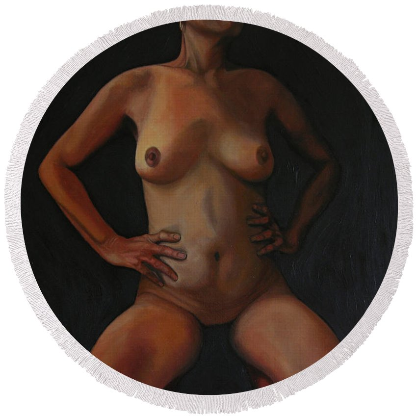 Sexual Round Beach Towel featuring the painting 11 Am by Thu Nguyen