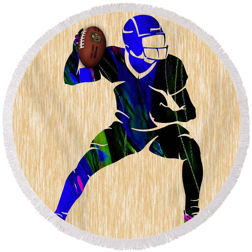 Football Round Beach Towel featuring the mixed media Football by Marvin Blaine