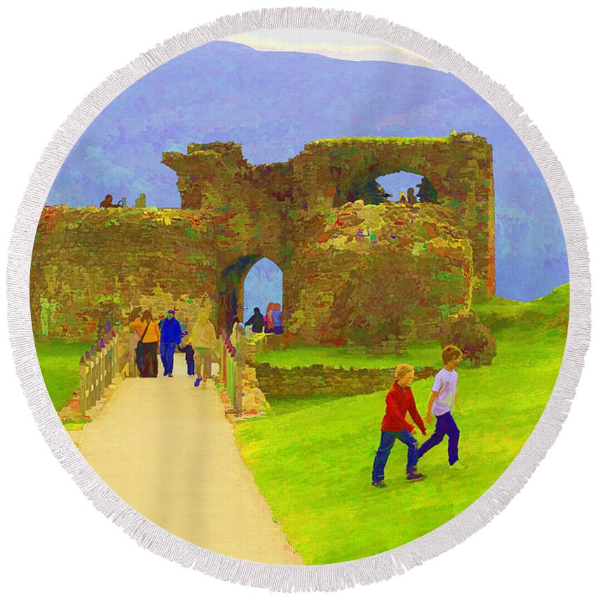 Blue Sky Round Beach Towel featuring the digital art Tourists And The Path At Ruins Of The Urquhart Castle by Ashish Agarwal