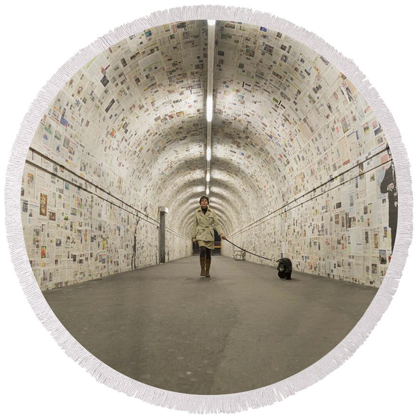 Tunnel Round Beach Towel featuring the photograph Tunnel by Mats Silvan