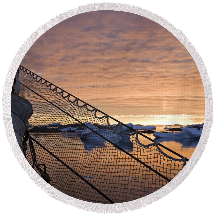 Sunset Round Beach Towel featuring the photograph 111130p143 by Arterra Picture Library