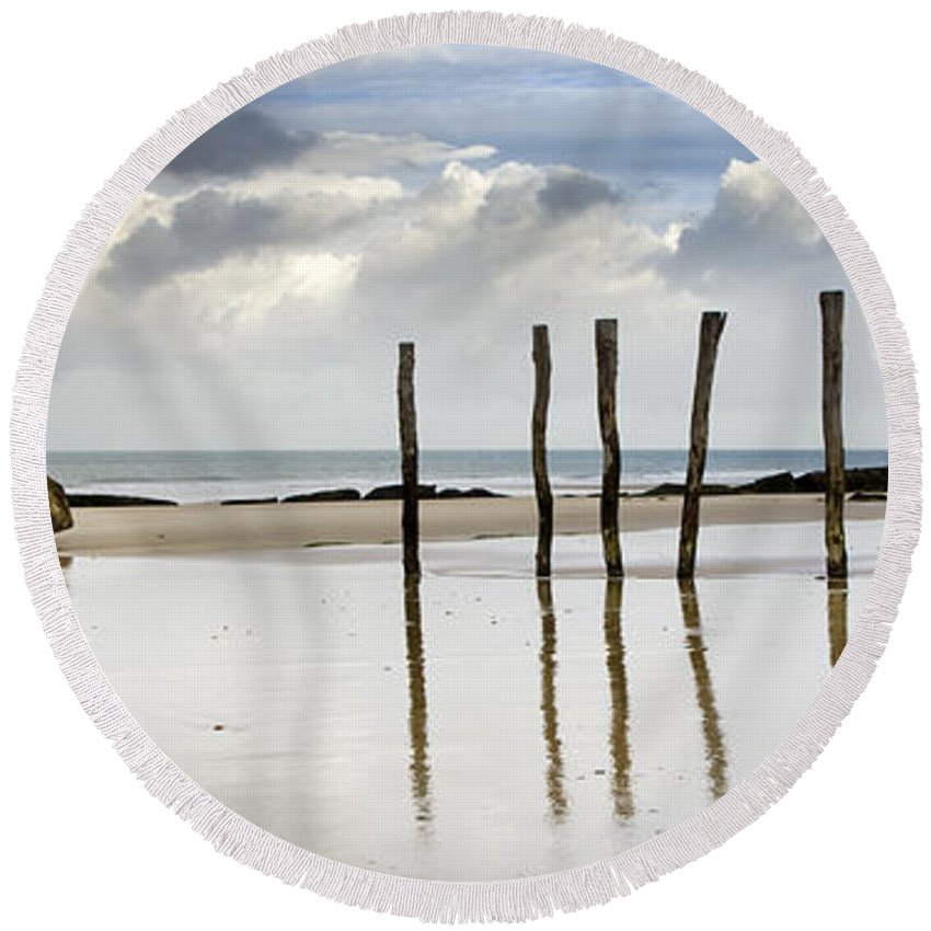 German Round Beach Towel featuring the photograph 111230p036 by Arterra Picture Library