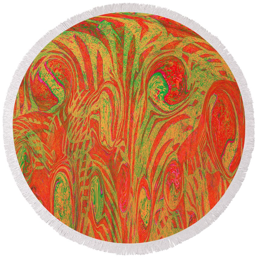 Abstract Round Beach Towel featuring the digital art 1133 Abstract Thought by Chowdary V Arikatla