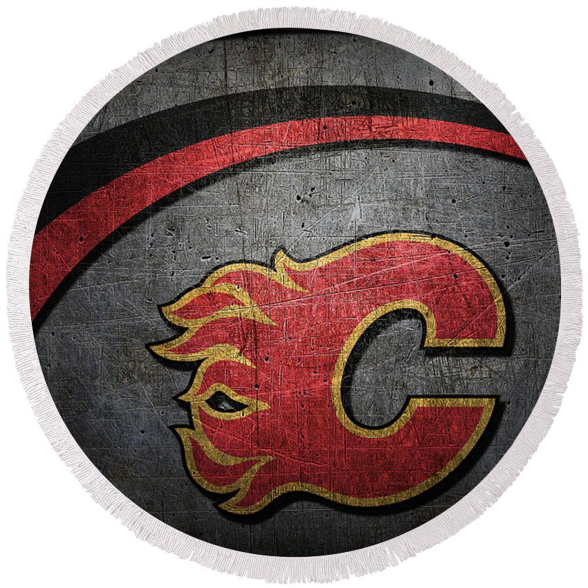 Flames Round Beach Towel featuring the photograph Calgary Flames by Joe Hamilton