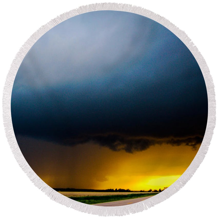Nebraskasc Round Beach Towel featuring the photograph Excellent Severe T-boomers South Central Nebraska by NebraskaSC