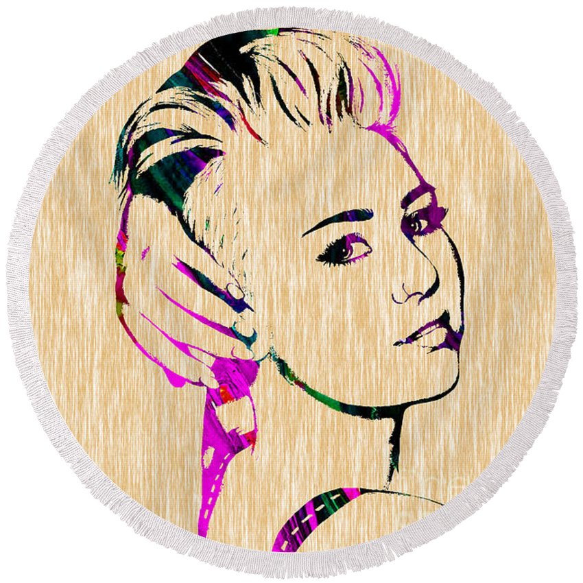 Miley Cyrus Round Beach Towel featuring the mixed media Miley Cyrus Collection by Marvin Blaine